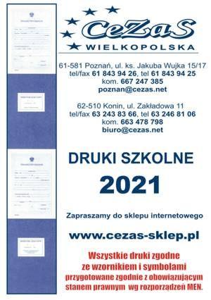 DRUKI SZKOLNE 2021