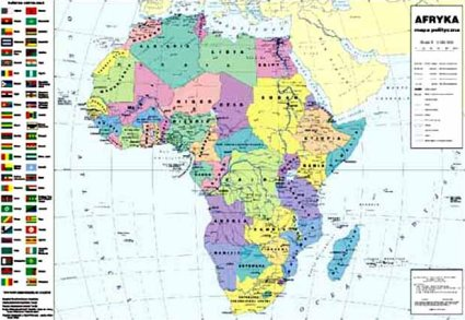 Plakat Mapa Afryki Z Granicami Panstw Stolic Rzek I Lakes Caly